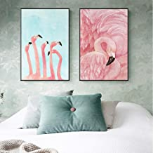 Pink Flamingo Creative Paintings, Modern Minimalism, Porch/Interior Decoration Painting, Black PS Picture Frame, Weak Solvent Oil Canvas Micro-spraying Process, Five Sizes, One Set Of Two The nature