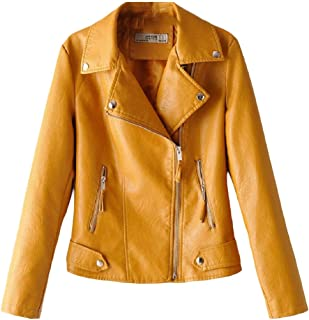 Women's Fashion Lapel Long Sleeves Oblique Zipper PU Leather Bomber Moto Jacket