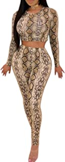Sedrinuo Women Sexy Snakeskin Long Sleeve Two Piece Sets Jumpsuits Crop Top and Long Pants Romper