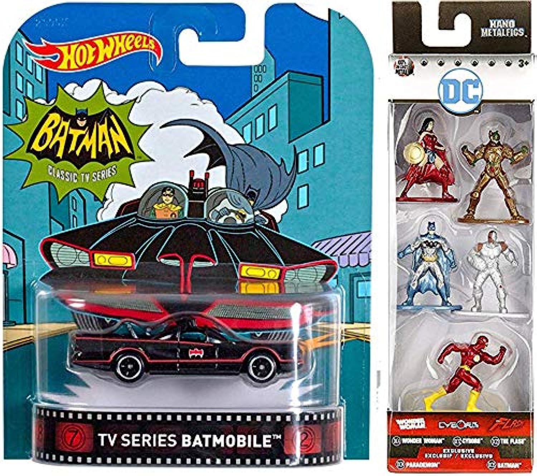 Retro DieCast Batman TV Series Classic DC Comics Hot Wheels Batmobile Real Rider Premium Car + Justice League Nano Mini Figures 5Pack