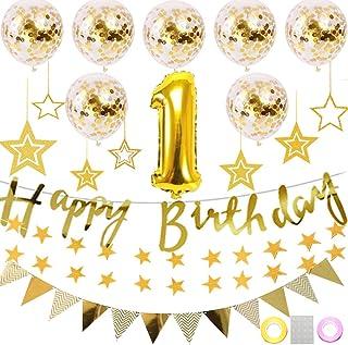 YANX 誕生日 飾り付け セット ゴールド きらきら風船飾り HAPPY BIRTHDAY 装飾 華やか おしゃれ バースデー デコレーション 男の子、女の子 (1歳〜9歳)