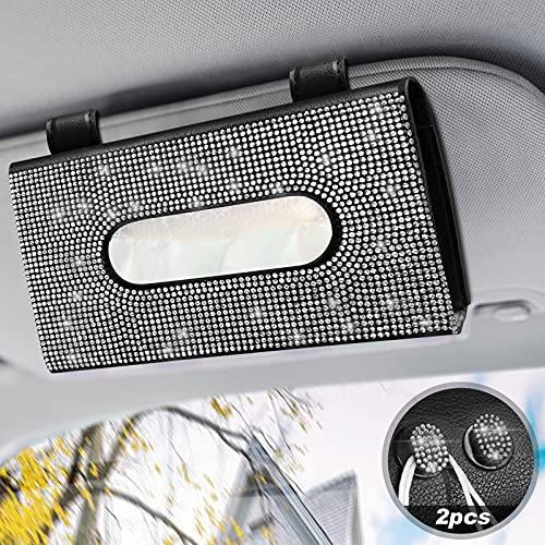 Bling Sonnenblende Auto Taschentuchbox Glitzer, Auto Tissue Halter mit 2 Stück Telefon Haken Clips, Maskenhalter Leder Taschentuchbox Glitter Autozubehör Innenraum für Frauen [Schwarz + Weiß]