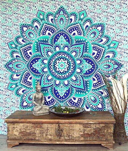 Guru-Shop Tela de Mandala India, Tela de Pared, Estampado de Mandala de la Colcha - Verde Esmeralda/azul, Algodón, 230x210 cm, Colchas de Mandala Toallas de Pared