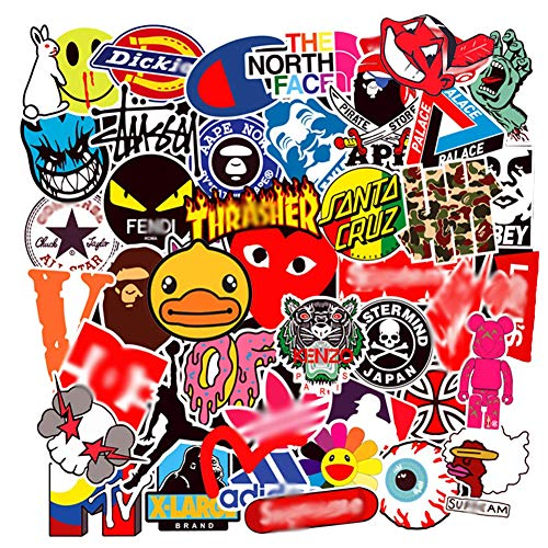 Brand Stickers 100PCS for Water Bottles,Fashion Cool Aesthetic Hypebeast Stickers,Laptops Sticker,Waterproof Vinyl Decal Sticker for Phone, Computer,Cars, Bicycles, Mac Book, PS4, Xbox ONE