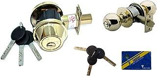 MUL-T-Lock Single Cylinder Deadbolt with S. Parker Knob Front Door Entry Lockset Combination Set Keyed Alike, Adjustable Backset,3 Keys with Card (Polish Brass)