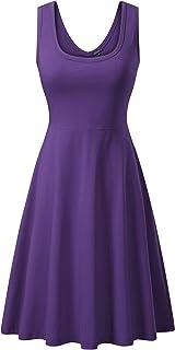 فستان نسائي بدون أكمام متوسط الطول كاجوال بدون أكمام من FENSACE