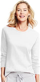 Women`s Long-Sleeve Crewneck T-Shirt, O9133, M, White