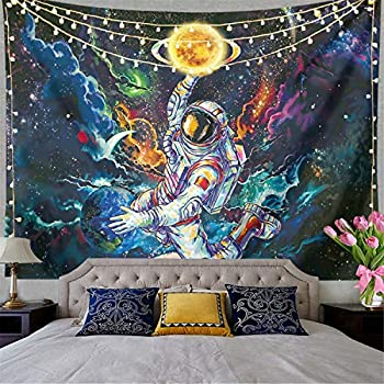 Trippy Astronaut Tapestry Galaxy Space Tapestry Poster Psychedelic Tapestry Cool Spaceman On Fantasy Universe Planets Starry Sky Tapestry Mens Guys Tapestry For Bedroom Cool Room Decor  59 L51 W