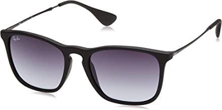 RAY-BAN RB4187 Chris Square Sunglasses, Rubber Black/Grey Gradient, 54 mm