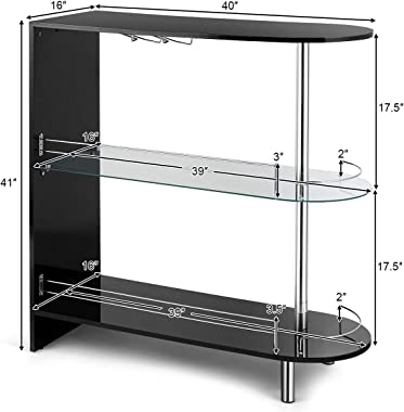 FFlyer 3-Shelves Liquor Bar, Glass Bar Table for Liquor, Home Wine Bar Stand w/Tempered Glass Counter Top & Metal Frame,