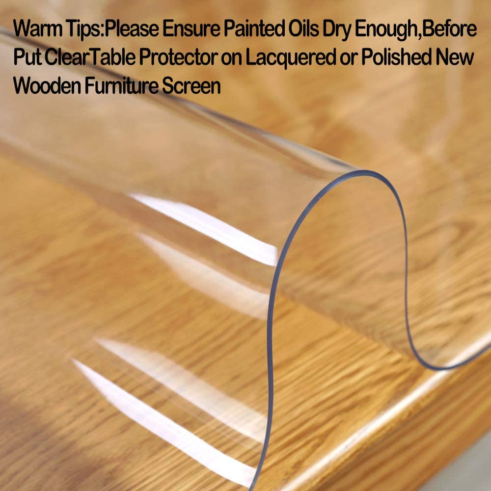 Clear Table Protector Plastic Thicken Wipeable PVC Vinyl Tablecloth Wooden Furniture Protective Desktop Liner Cover Waterproof Dining Coffee Tabletop Protection Desk Top Under Grill Mat Pad 44 X 72