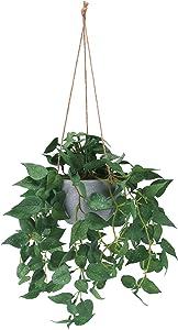 Hanging Plant Artificial Hanging Plants, 2ft Fake Hanging Plants, Faux Hanging Plant with Pot for Wall Home Room Indoor Outdoor Decor