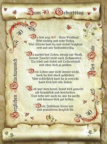 Die Staffelei 40. Geburtstag Geschenk-Urkunde mit Gedicht