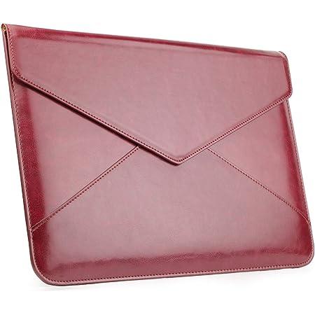 MacBook Air/Proケース 13-13.3インチ pcケース レザー パソコンケース マグネット開閉 防水 薄い カバー 軽量 封筒型 衝撃吸収 清潔が易い Dell/富士通/東芝対応 (ワンレッド)