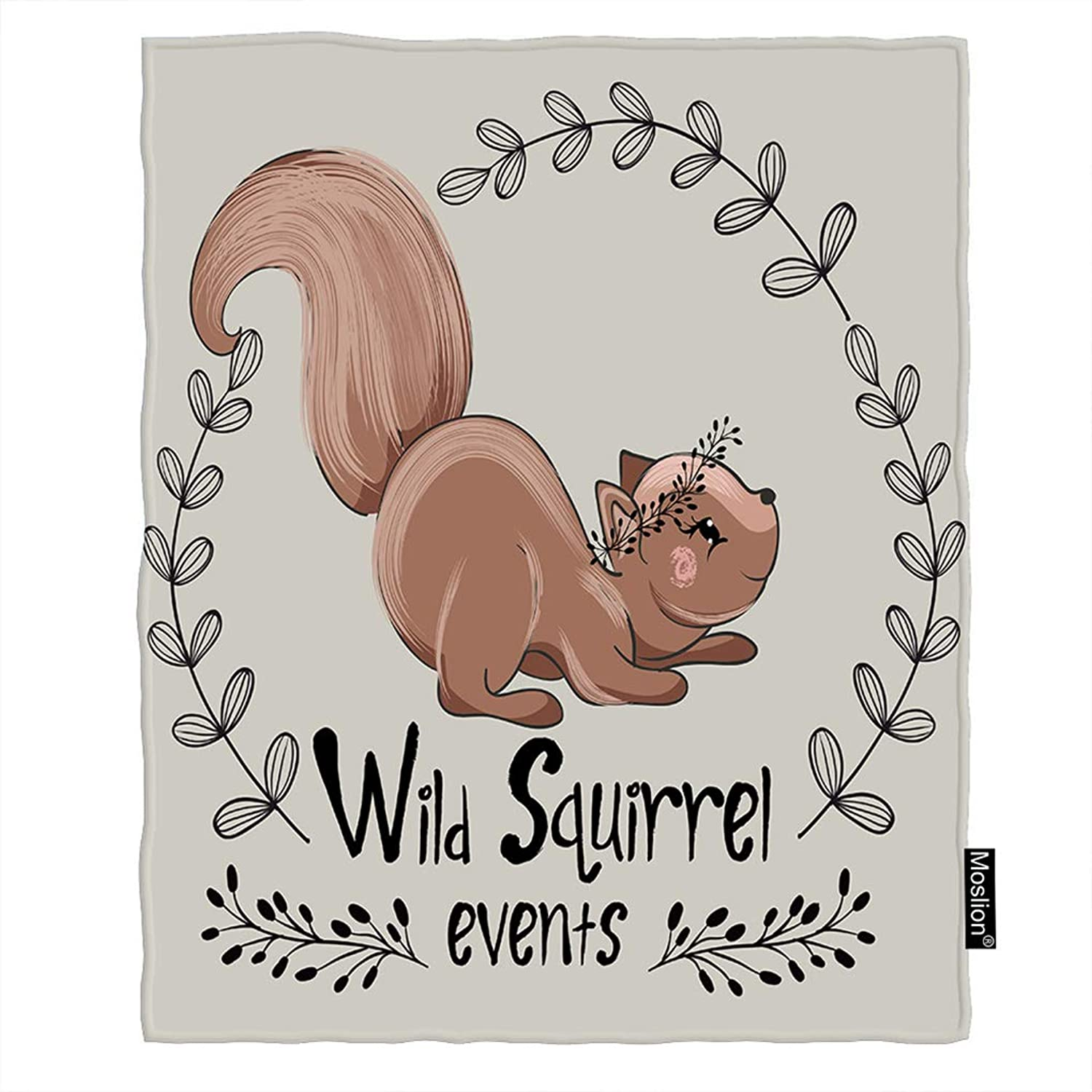 Moslion Squirrel Throw Blanket Cute Animal Thanksgiving Squirrels with Word Fall Leaves Blanket Home Decorative Flannel Warm Travel Blankets 5060 Inch for Couch Bed Grey