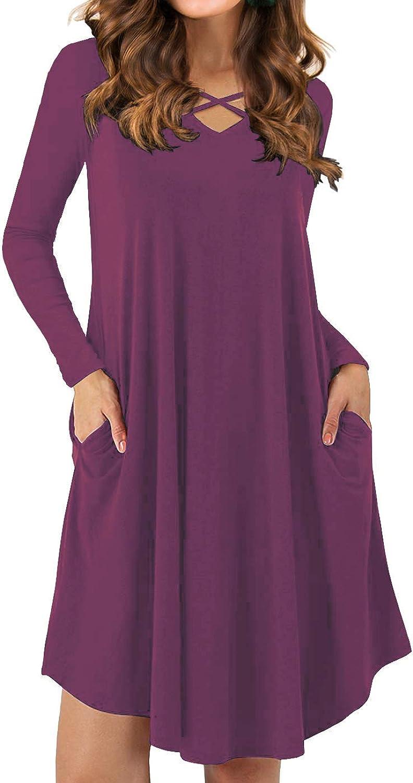 Iandroiy Women's Vneck Criss Cross Long Sleeves Loose Dresses with Pockets Plain Mini Dresses