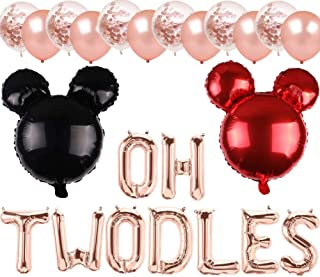 Red Minnie Mouse 2nd Birthday Party Decorations Supplies Oh Twodles Balloons Photo Prop for Girl Baby Bday (Rose Gold)