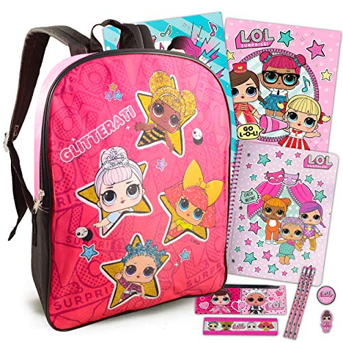LOL Dolls Backpack for Girls Bundle ~ Premium 15' LOL Backpack, Folders, Notebook, Pencils, and More (LOL Dolls School Supplies)