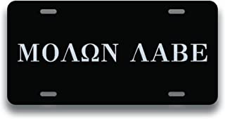 Decals Home Decor & More Molon Labe Vanity License Plate | Etched Aluminum | 6-Inches by 12-Inches | Car Truck RV Trailer Wall Shop Man Cave | VLP011