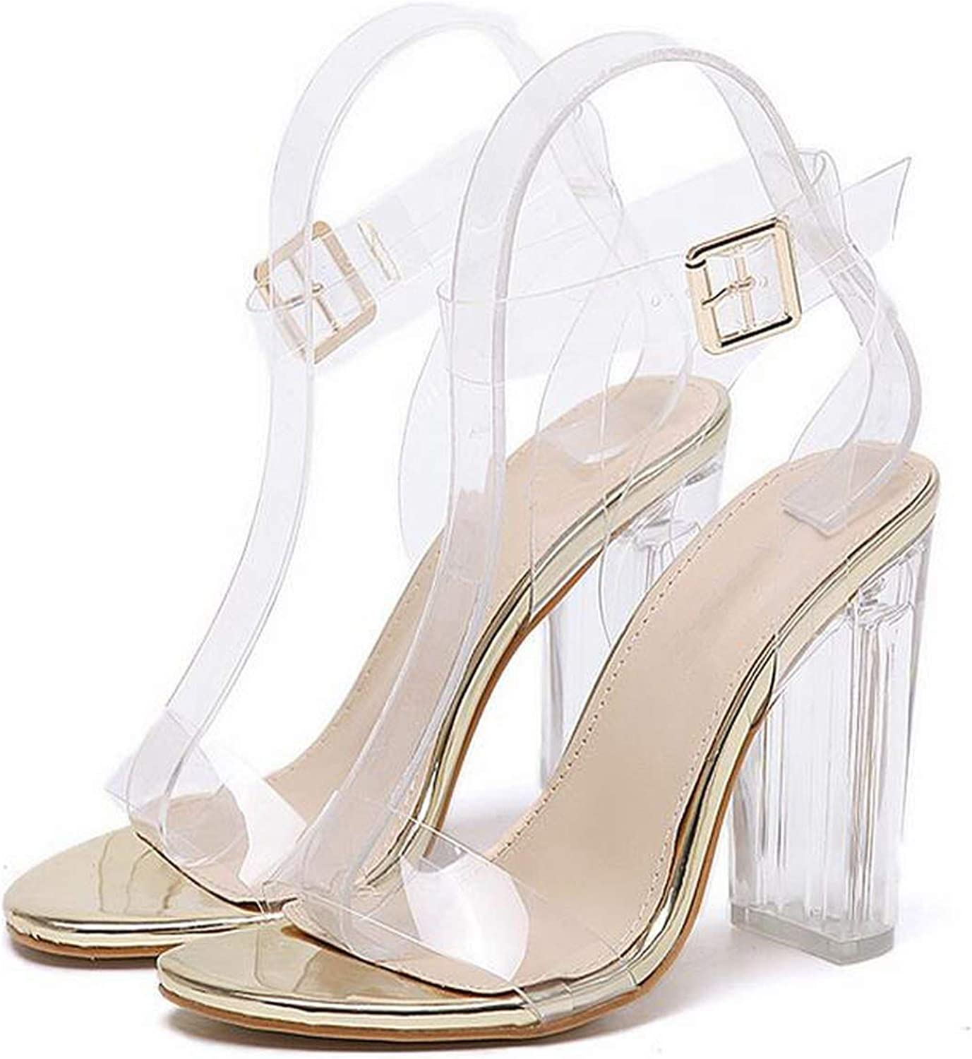 CoraSheep New PVC Women Sandals Sexy Clear Transparent Ankle Strap High Heels Party Sandals Size 35-42