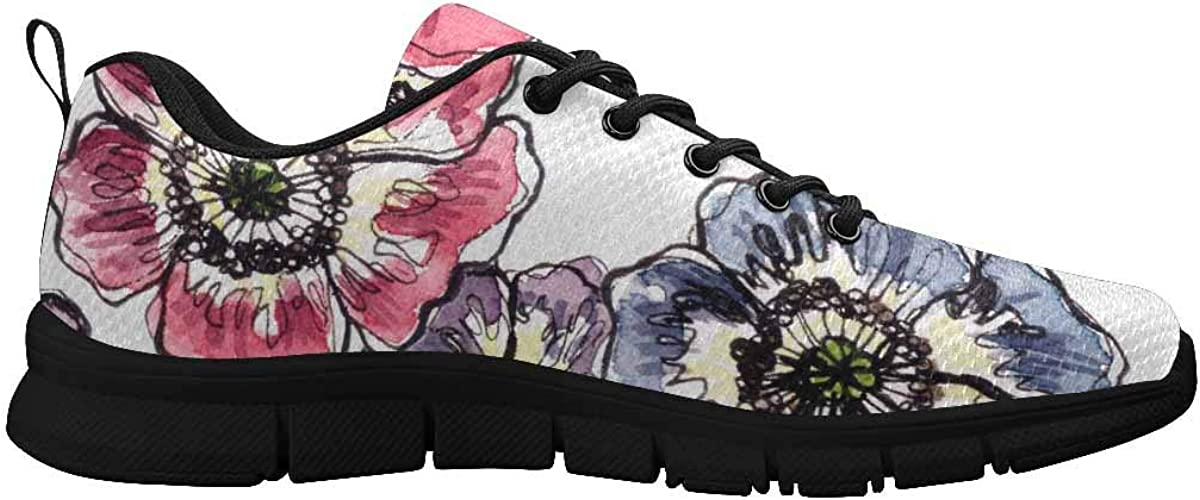 INTERESTPRINT Colorful Anemone Flowers Women's Athletic Walking Shoes Casual Mesh Comfortable Work Sneakers