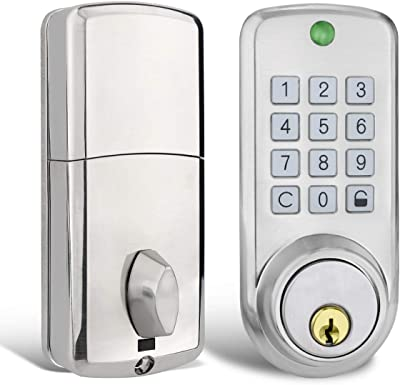 Keyless Smart Code Lock,Manhaoya Security Electronic Digital Keypad Entry Door Lock with Entry Deadbolt Emergency Key Zinc Alloy (Sliver)