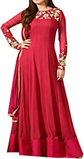 Ethnic Empire Women's Georgette Semi Stitched Anarkali Salwar Suits (DIV_FlexER10739_Red_Free Size)