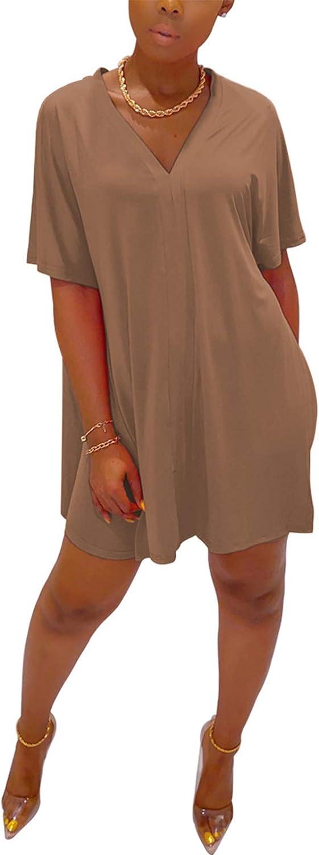 Plus Size 2 Piece Short Set for Women Sexy V Neck Loose T Shirt Bodycon Shorts