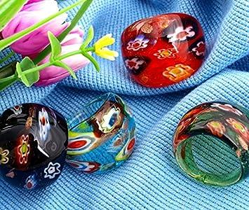 skyllc® 4 X Sortijas Anillos Cristal de Murano Flor Lampwork
