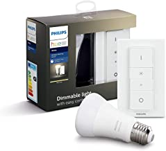 Philips Hue White Wireless Dimmer Kit: Smart Bulb LED Kit [E27 Edison Screw] with Bluetooth Includes, Dimmer Switch (Compa...