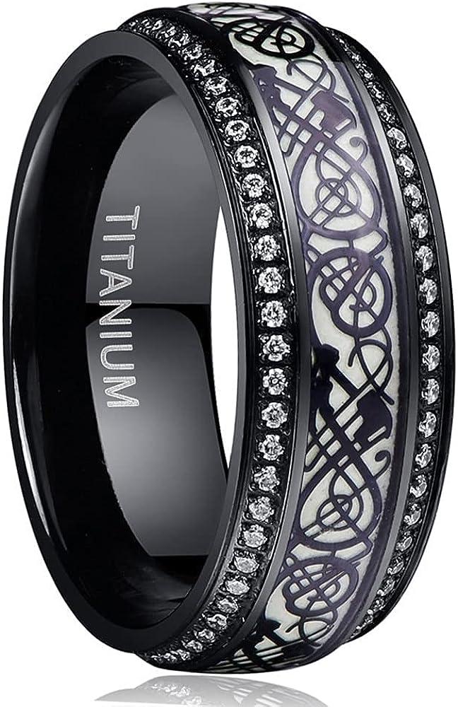 Max It is very popular 60% OFF Black Carved Flower Dragon Luminous Titanium Tungsten Steel Ring