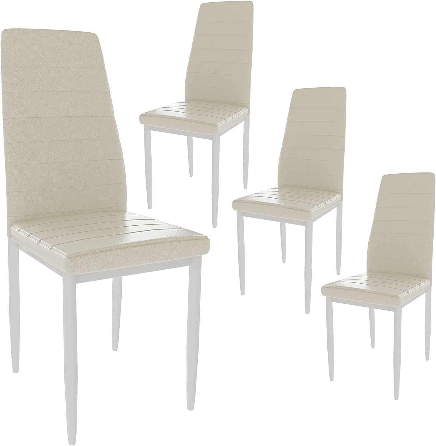 MIERES Dining Set of 4 Super sale Kitchen Upholstered Leather depot Back PU Seat