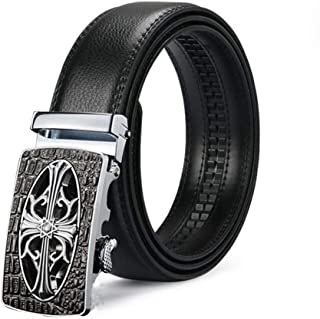 NOMSOCR Men's Fashion Real Leather Ratchet Dress Belt with Automatic Sliding Buckle