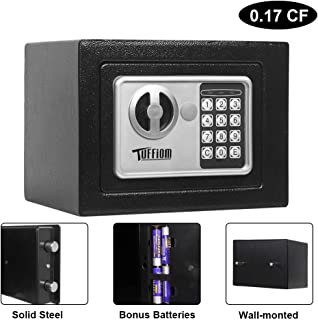TUFFIOM 0.17CF Security Safe Box, Small Portable Digital Cabinet Safe with Keypad Lock & Solid Steel Construction, Perfect for Home Office Use, to Store Cash Jewelry, Batteries Included