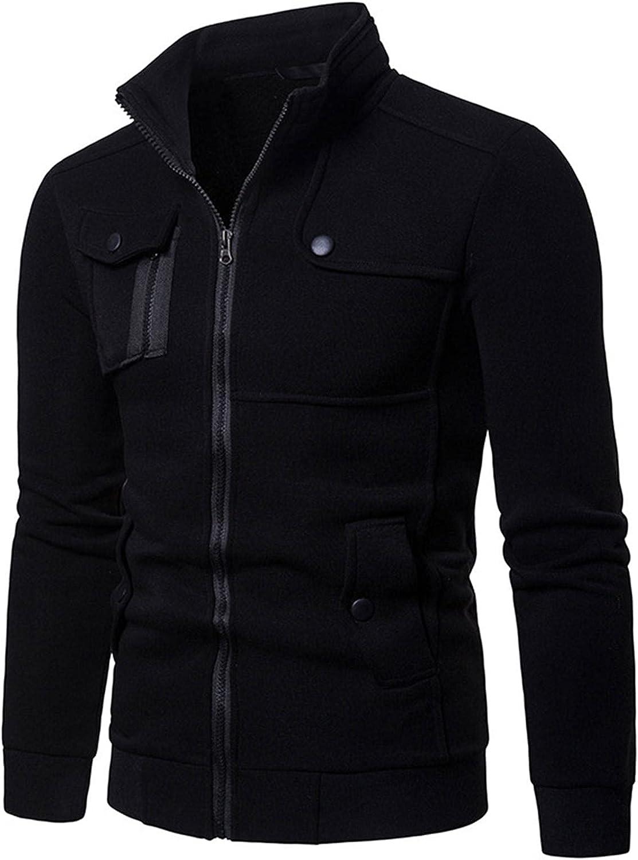 FORUU Men's Zipper Jacket 2021 Fall Winter Casual Color Block Lightweight Coat Cute Hoodies Fashion Slim Coat Overcoat