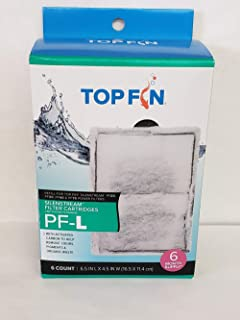Top Fin Silenstream Large PF-L Filter Cartridges Refill for PF30, PF40 and PF75 Power Filters 6.5in x 4.5in - (6 Count)