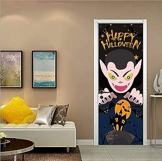 MISSSIXTY Happy Halloween 3D Door Wallpaper Murals Wall Stickers Self-Adhesive Vinyl Removable Art Door Decals 30.3x78.7