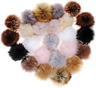 24 Pieces Faux Fur Pom Pom Balls DIY Fluffy Pompoms with Elastic Loop for Hats Bags Keychain Shoes Scarves Gloves Accessories (24pcs - Mixed Color 1)