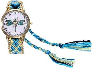 Dilwe Reloj Colorido para Mujeres, Reloj Weave con Correa de Moda y un dial con patrón insertado, Reloj de Pulsera para niña