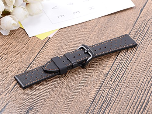 6Pieces Rubber Watch Band Strap Loops Black Clear Replacement Resin Holder Retainer 18mm 20mm 22mm with Spring Bar Tools (18mm, Black)
