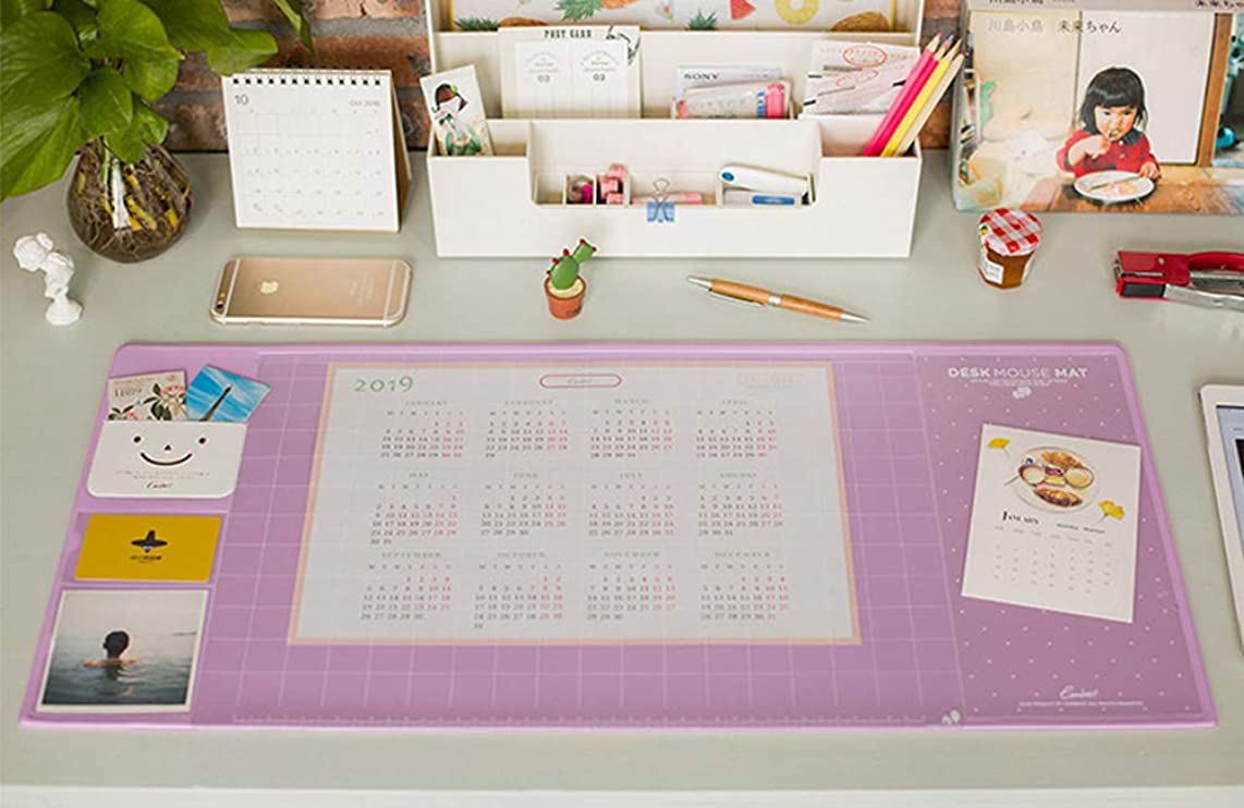 Desk Pad Large Size Desk Mouse Pad Protector Multifuntion Laptop Desk Pads with 2019 Calendar, Pockets and Dividing Rule Scale (Purple)