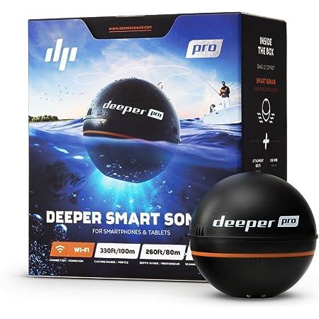 Deeper Pro Smart Sonar Castable y portátil Smart Sonar WiFi buscador de peces para kayaks y barcos en la costa Carpa Pesca Buscador de peces