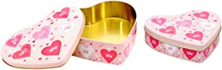 Valentine Gift Tins Boxes Set of 2 Nesting Heart Shaped Cute Small Box Party Favors Box for Wife Anniversary Girlfriend Birthday Presents For Gift Giving Empty Candy Treat Swap Coral Blush Pink