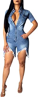 ThusFar Women's Sexy Destroyed Ripped Hole Distressed Button Down Denim Shirt Jeans Shorts Romper Jumpsuit with Pockets