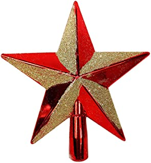 Xmas Sparkle 3D Star Christmas Tree Topper, Christmas Tree Decorations, Shiny/Glitter, red and Gold, 20cm(7.87