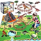 Dinosaur Volcano Figures Toy with Mat,Educational Mist-spouting Volcano Playset with Realistic Dinosaurs,Stone and Tree to Create a Dino World Party Gifts for Kids Toddler Boys and Girls
