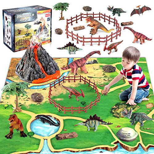 Dinosaur Volcano Figures Toy with Mat,Educational...