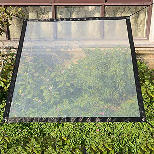 Sureh 2 x 3 m wasserdichte transparente Plane mit Ösen, Vordächer und Planen, strapazierfähige, transparente, wetterfeste Plane, faltbar, Pflanzendach, Regenschutz, Seil...