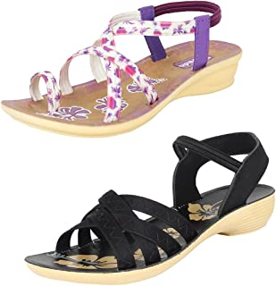 Earton Women Multi Combo Pack of 2 Sandal