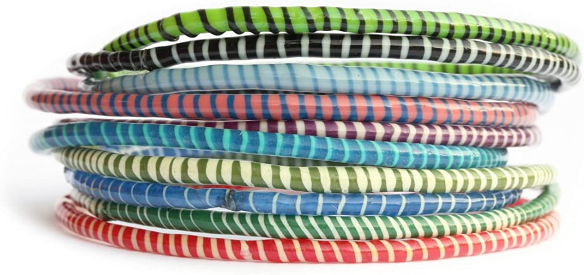 10 Recycled Flip Flop Bracelets Assorted Colors Hand Made in Mali, West Africa